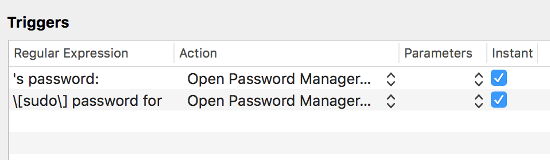 Triggers に Password Manager を開く条件を設定