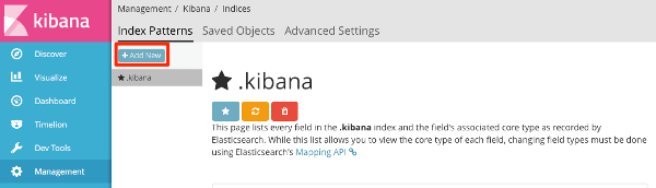 Kibana5にインデックス追加