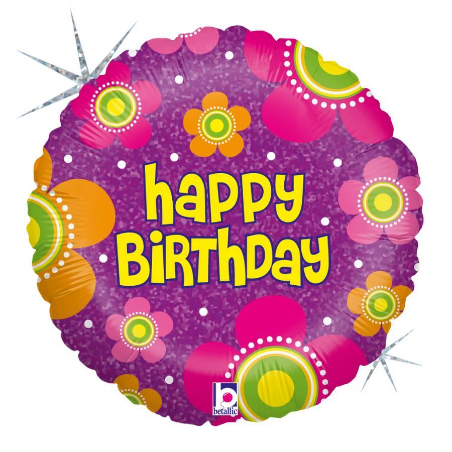 Karaloon Shop 1 Foil Balloon Happy Birthday Flowers