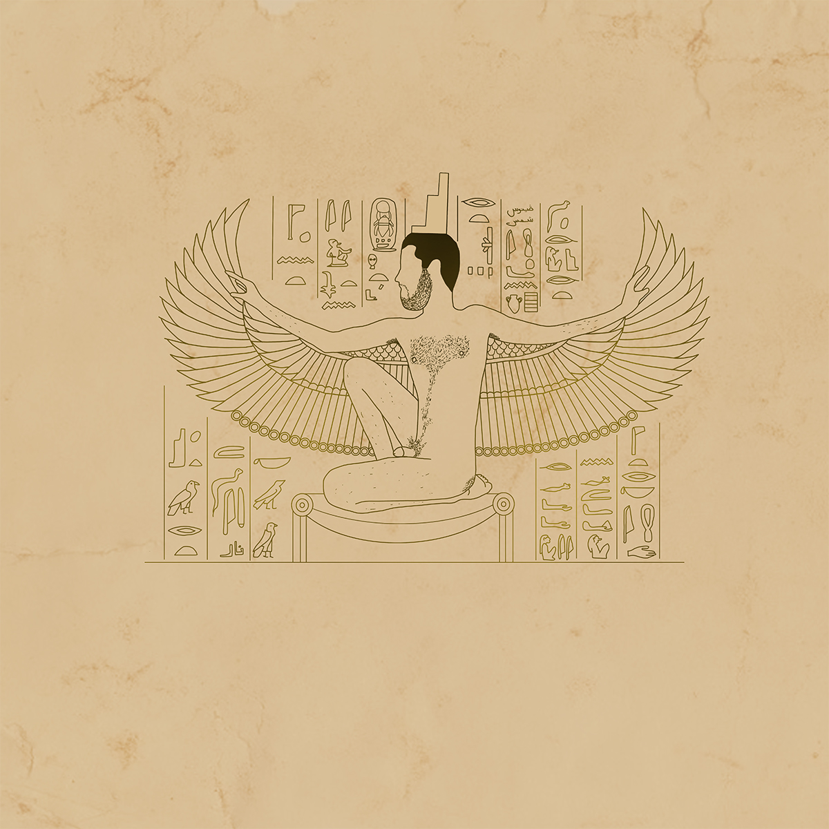 Karam Natour drawing of naked human body as the Goddess Isis of Egyptian mythology.