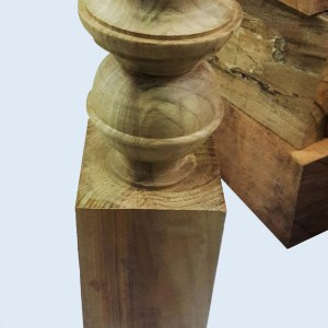 Kararam Handcrafted WOOD NEWEL Post(Baluster), Stair rail, Front door pillar, Spindle, ORMOSIA, 450-mm or 18-inch Height