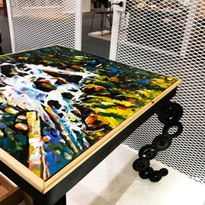 Handcrafted METAL Rectangular Table with Painting on Top(Curved Leg), Square Table, Home, Working, Living or Dining Room, 1000-mm or 40-inches, Real Auto Parts