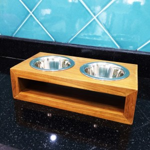Handcrafted WOOD Cat & Dog Bowl/Pet Feeding Stand(2 Holes), Indoor and Outdoor, Comfort, Natural Wood Pet Self-Feeder, 340-mm, 13-inch Width