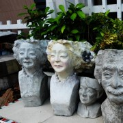 Handcrafted Cement GIRL FACE Planter(Female Face Plant Pot), House, Office, Garden Plant Pot, Unique Pot, Container, 500-mm, 20-inches(H)