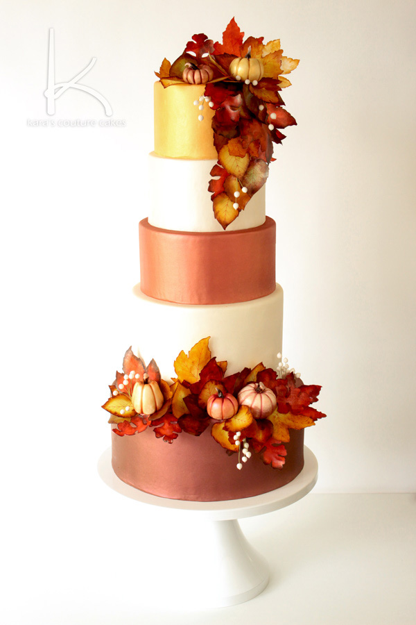 The Perfect Wedding Cake Design For Fall Featuring Warm Oranges Reds Golds And