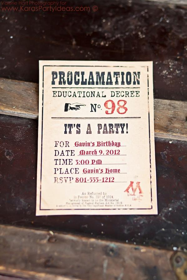 Birthday Invitations Harry Potter Printable