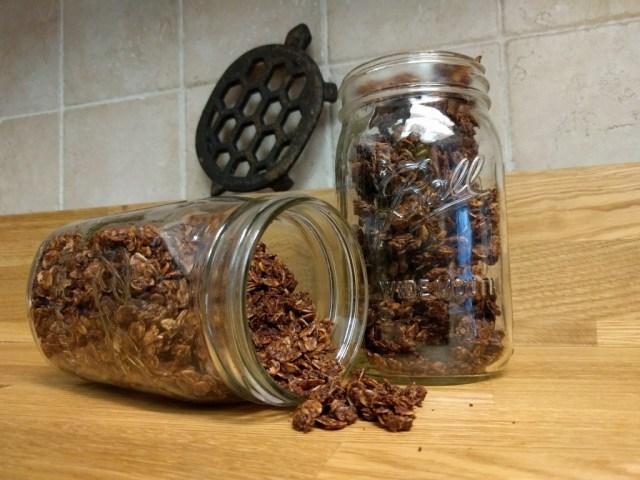peanut butter chocolate granola in mason jars