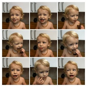 Toddler Eating Chocolate Collage