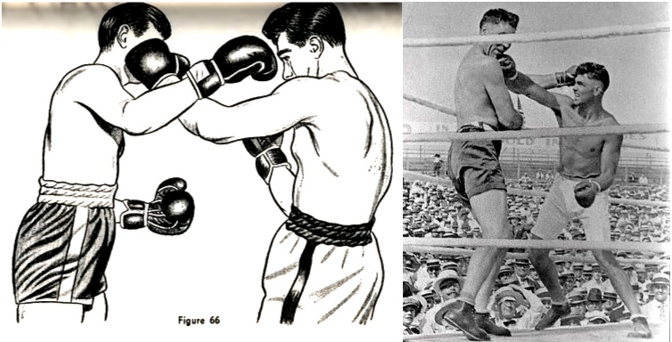 An illustration from Jack Dempsey's book, Championship Fighting, alongside a photograph of him using the technique in a fight