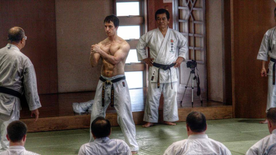 Chris Denwood working Uechi-Ryu Sanchin under the guidance of Yamashiro Sensei