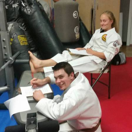 Brent and Rachel taking the written portion of their Shodan test