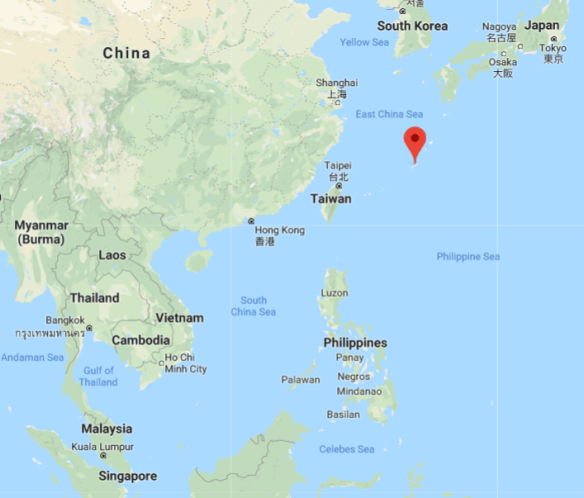 Map showing Okinawa in relation to Japan, China, and Southeast Asia