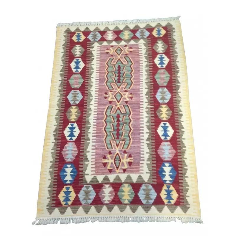 petit tapis kilim rose et blanc c35