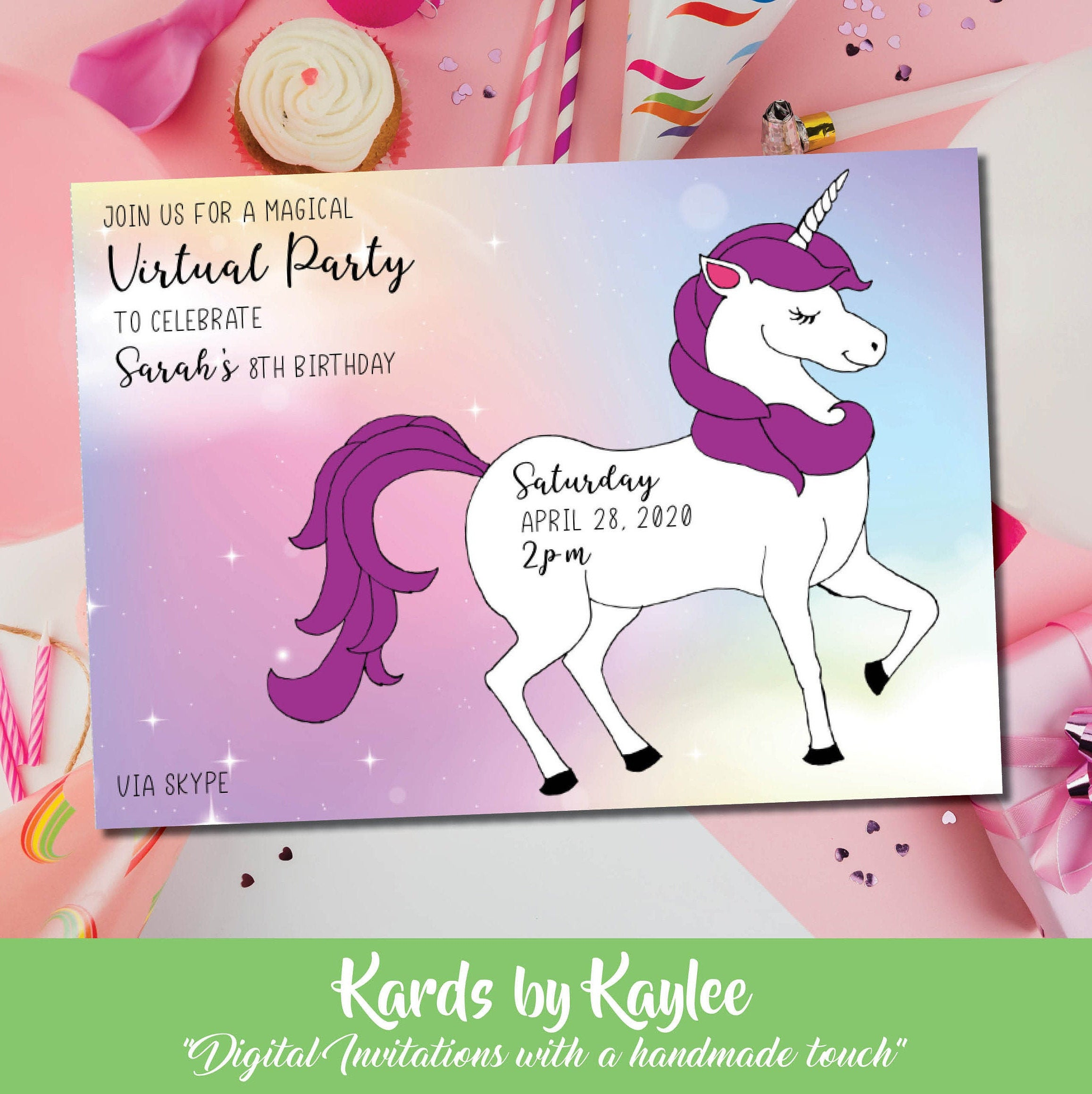 virtual unicorn birthday party invitation instant download template
