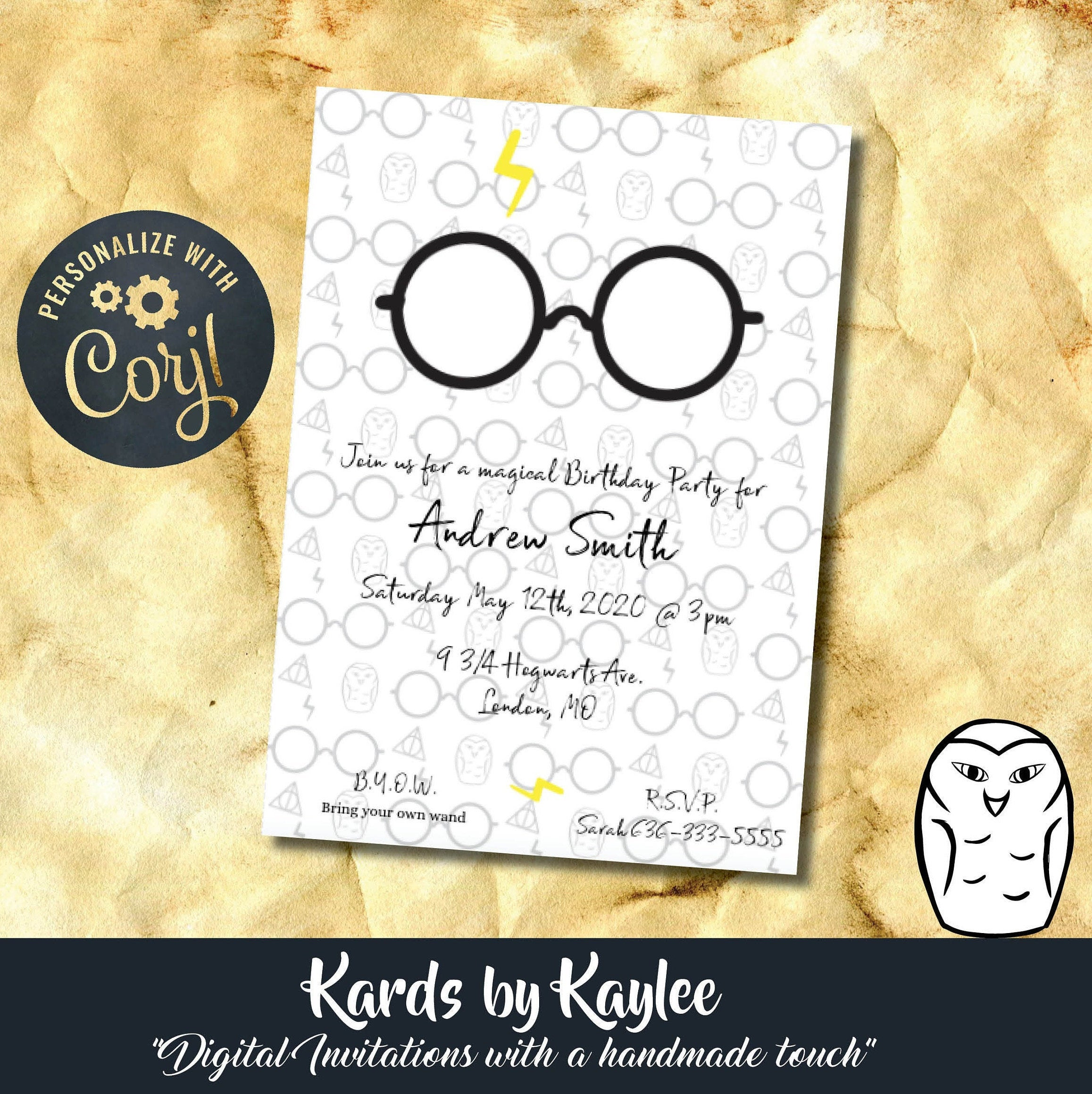 harry potter inspired birthday party invitation instant download digital file virtual party invitations