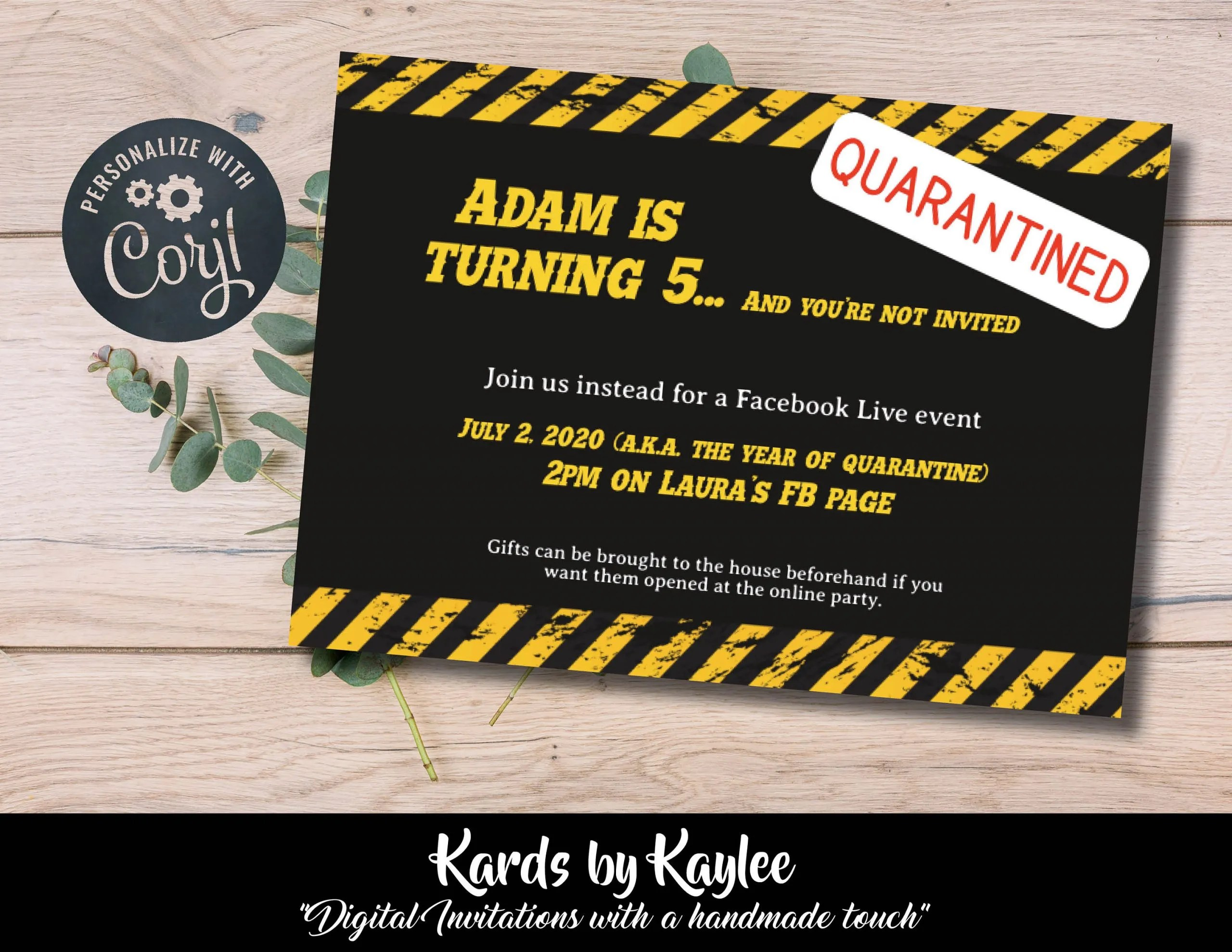 quarantined birthday party invitation you re not invited instant download template