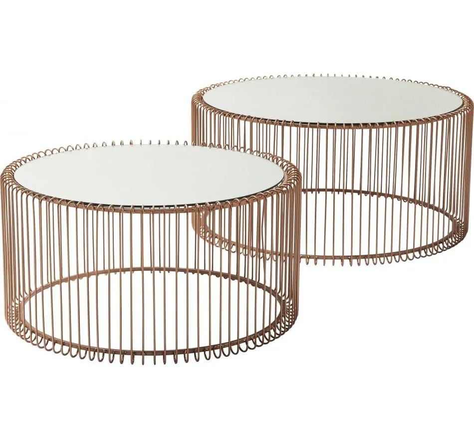 tables basses rondes wire set de 2 cuivre kare design