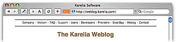 mockup of Safari toolbar with an RSS item