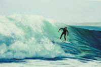 Surfing at Jacques Point - Acrylic 51 x 76.5 cms