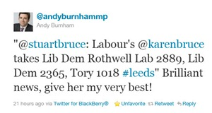 Andy Burnham congratulations on Twitter