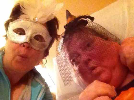 Our FaceTime prank calls. Halloween came early for us at our slumber party two weeks ago. ;-)