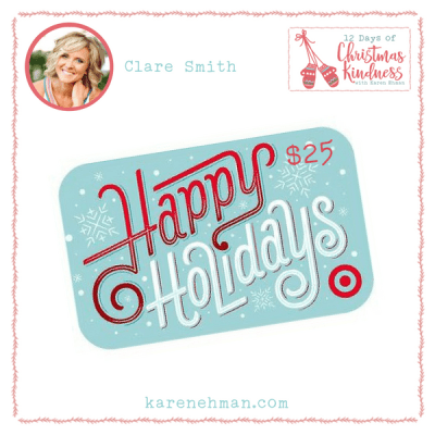 Join Clare Smith and Karen Ehman to Listen Love Repeat for 12 Days of Christmas Kindness plus a Target gift card giveaway!