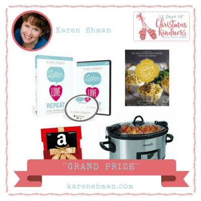 Enter to win the grand prize during Karen Ehman's 12 Days of Christmas Kindness.