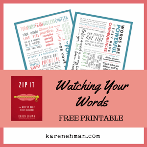 Watching Your Words printable at karenehman.com.