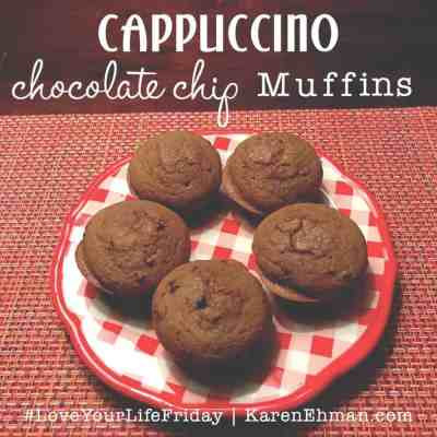 Cappuccino Chocolate Chip Muffins by April Wilson for #LoveYourLifeFriday at karenehman.com.
