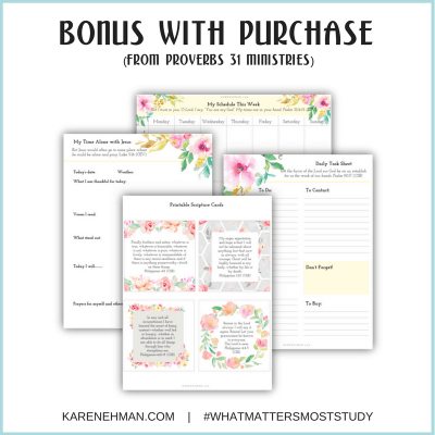 Bonus with purchase of What Matters Most, a study of Philippians by Karen Ehman. Exclusive bonus for purchase at Proverbs 31 Ministries.