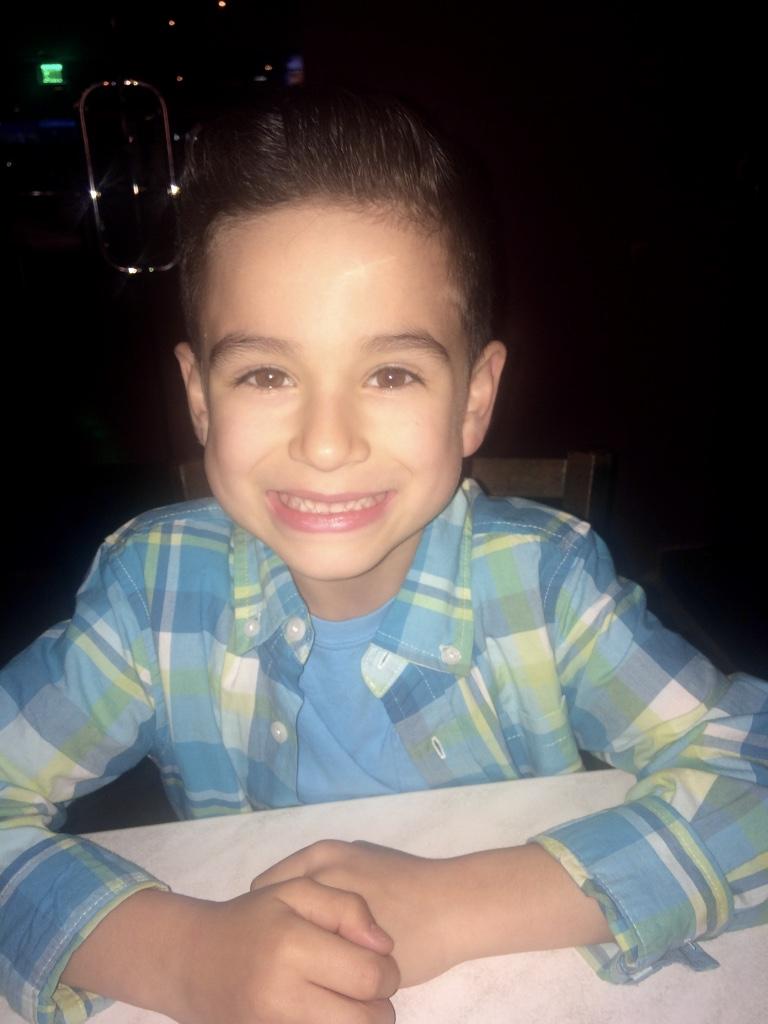 handsome boy at dinner