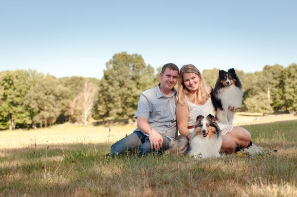Couple with Shelties portrait