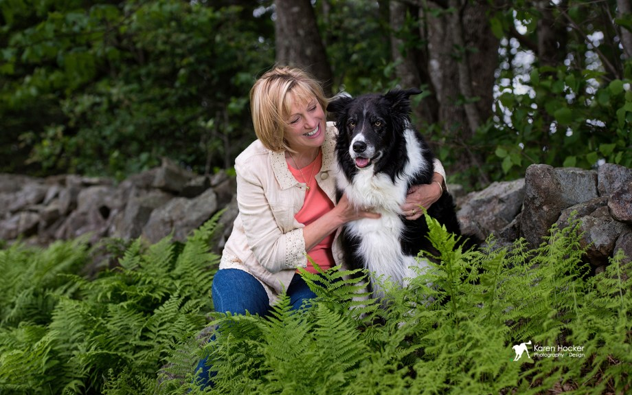 Border Collie Duffy and Mom in front of rock wall