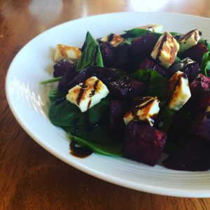 Beetroot, haloumi and pistachio salad