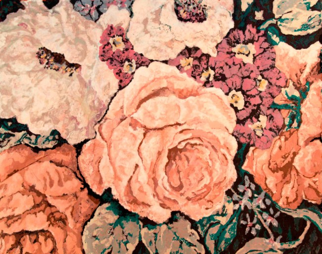 "Karen Stone, ""My dears,"" the beige rose declared, ""one simply must have a comfortable place to grow!"", 2011."