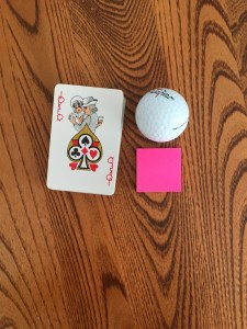 Portions: Deck of Cards, Golf Ball, Small Post-It Notes