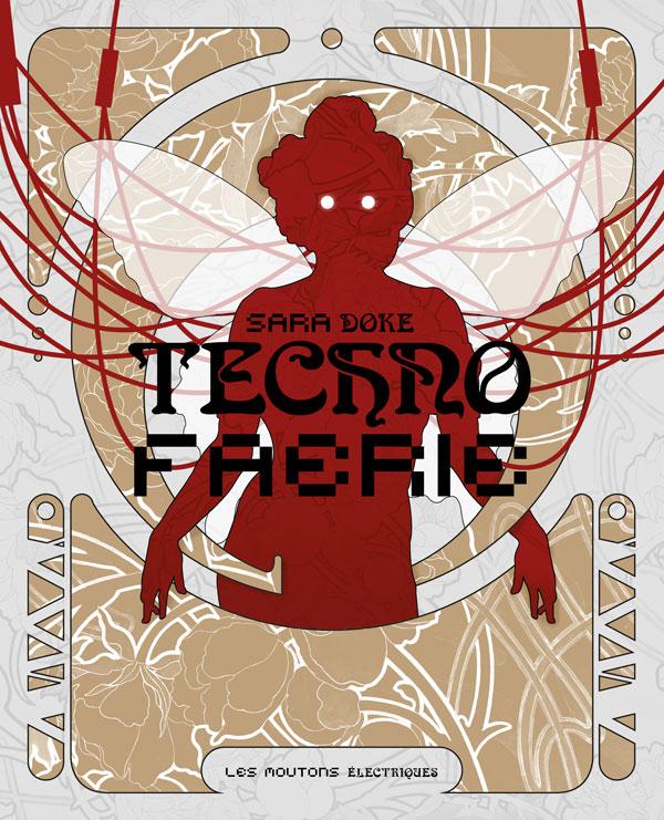 Couverture du livre, présentant la silhouette sylisée d'une fae rouge, sur fond de fleurs blanches et dorées