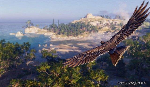 Image décorative : capture du jeu AC Odyssey, montrant un aigle survolant une île grecque.