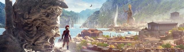 Image décorative : affiche promotionelle du jeu Assassin's Creed Odyssey, montrant l'héroine perché sur l'épaule d'une statue monumentale, regardant vers une cité grecque