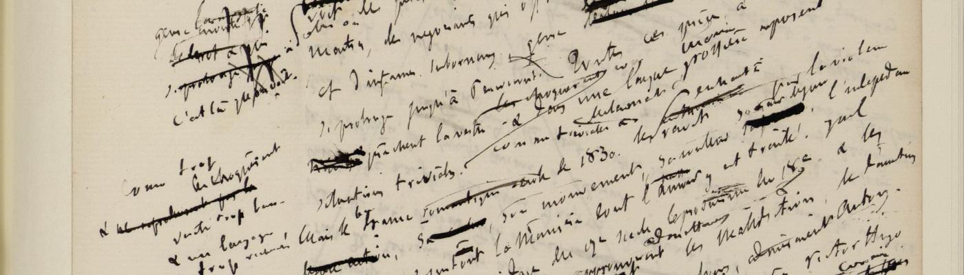 Image décorative : manuscrit de Gustave Flaubert largement rayé, corrigé et annoté.
