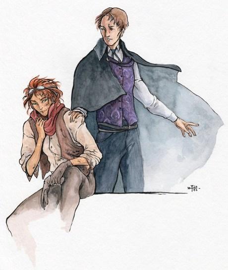 Image décorative : aquarelle de deux de mes perso, le premier habillé de manière simple assis sur un muret, le second plus richement vêtu, la main sur l'épaule du premier, en train de l'inviter à le suivre.