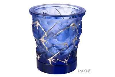Packshot photophore Lalique motif hirondelles
