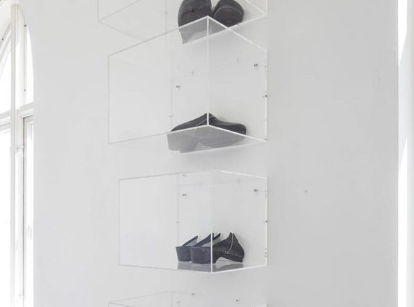 Close to Nothing, 2016 6 acrylic showcases, variable dimensions, modified clogs
