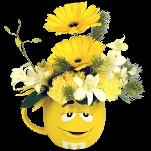 Yellow 3D M&M Flower Mug