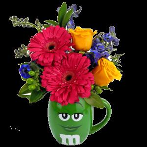 Green m&m Character Flower Mug
