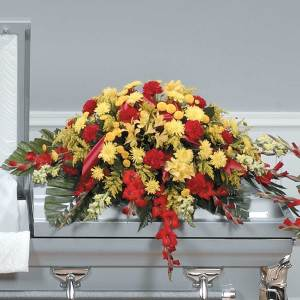 Red and Yellow Half Casket Spray