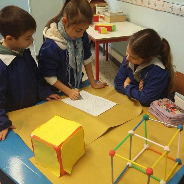 In seconda abbiamo individuato e contato vertici e spigoli, realizzato con il pongo e gli spiedini lo scheletro dei poliedri e compilato la loro carta d'identità.