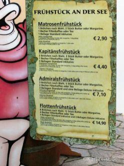 Preise für verschiedene Frühstücksangebote im Hansapark