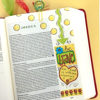 Bible Journaling Step-by-Step with Print-Your-Own Stickers – Joshua 1 – Be Brave