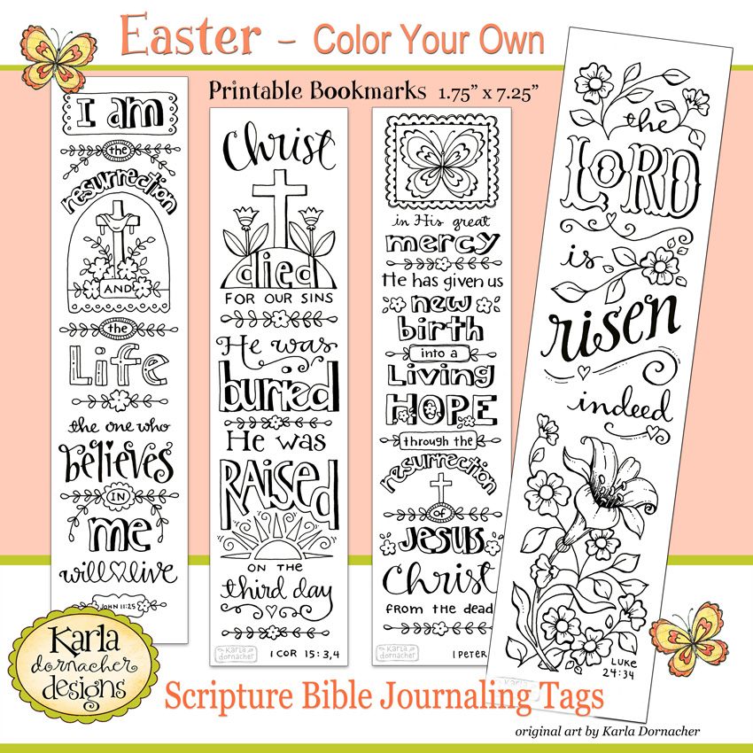 photo relating to Who I Am in Christ Printable Bookmark named Easter Colour Your Particular Bible Journaling Bookmarks